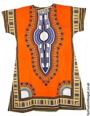 Long-Cotton-Festival-Kaftan-Dress-Unisex-Orange