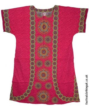 Long-Cotton-Festival-Kaftan-Dress-Unisex-Pink