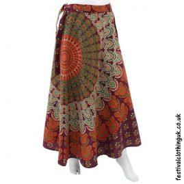 Long Cotton Throw Festival Wrap Skirt Burgundy