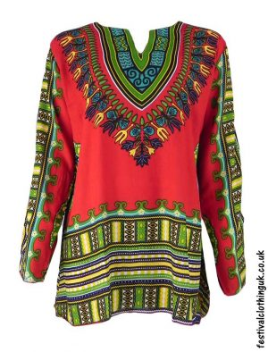 Long-Sleeve-Dashiki-Festival-Tunic-Red