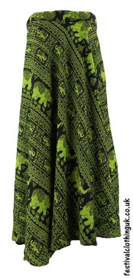 Long-Wrap-Elephant-Festival-Skirt-Green