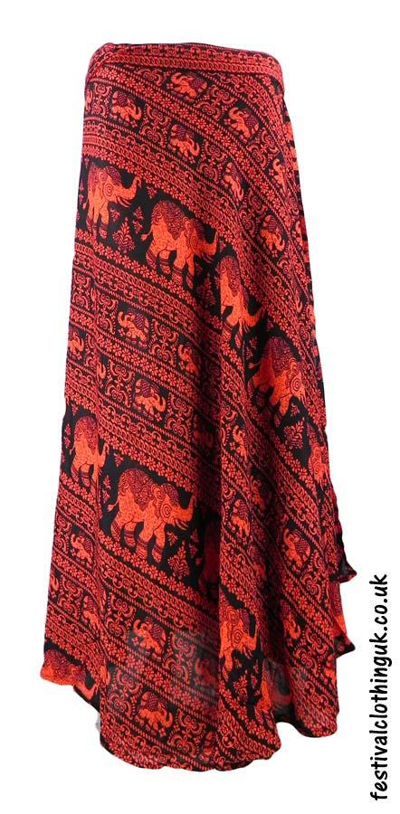 Long-Wrap-Elephant-Festival-Skirt-Red