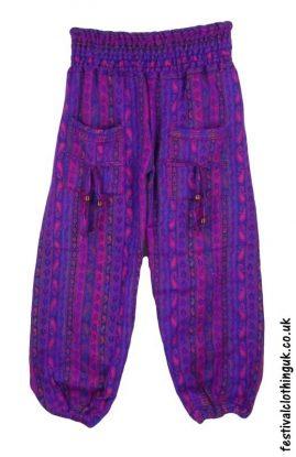 Multicoloured-Acrylic-Festival-Trousers-Purple