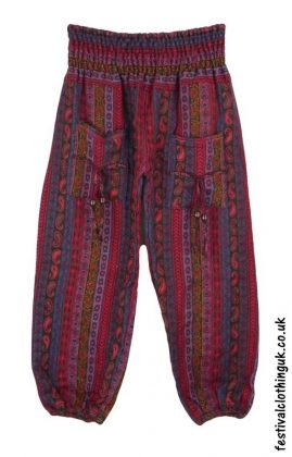 Multicoloured-Acrylic-Festival-Trousers-Red