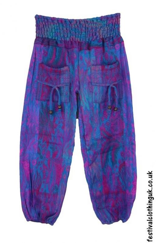 Multicoloured-Acrylic-Festival-Trousers-Turquoise