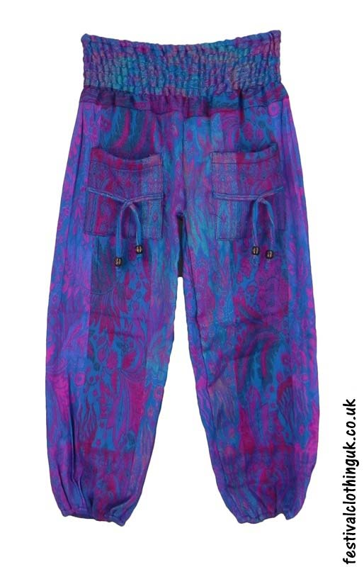 Multicoloured-Acrylic-Festival-Trousers-Turquoise