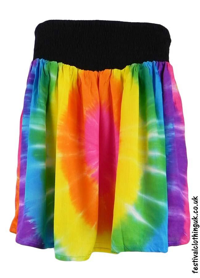 Multicoloured-Tie-Dye-Short-Festival-Skirt-Rainbow