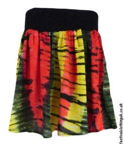 Multicoloured-Tie-Dye-Short-Festival-Skirt-Rasta