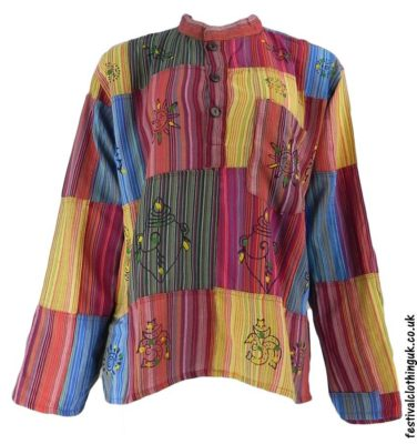 Long Sleeve Festival Tops - Patchwork Grandad Shirt