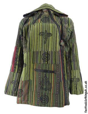 Patchwork-Hooded-Festival-Jacket-Green