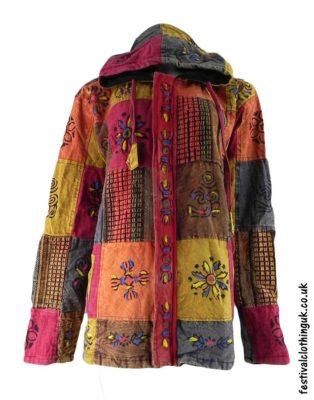 Patchwork-Hooded-Festival-Jacket-Red