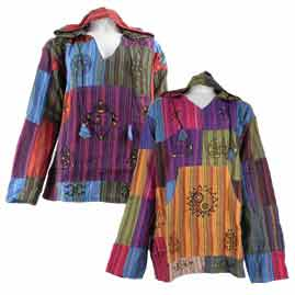 Hooded Patchwork Kangaroo Pocket Tops