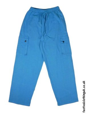 Plain-Festival-Cargo-Trousers-Turquoise