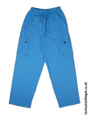 Plain-Festival-Cargo-Trousers-Turquoise