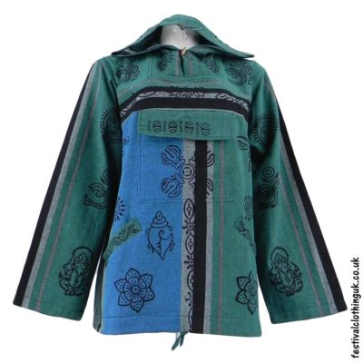 Printed-Hooded-Pull-Over-Festival-Top-Green