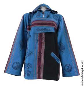 Printed-Hooded-Pull-Over-Festival-Top-Turquoise