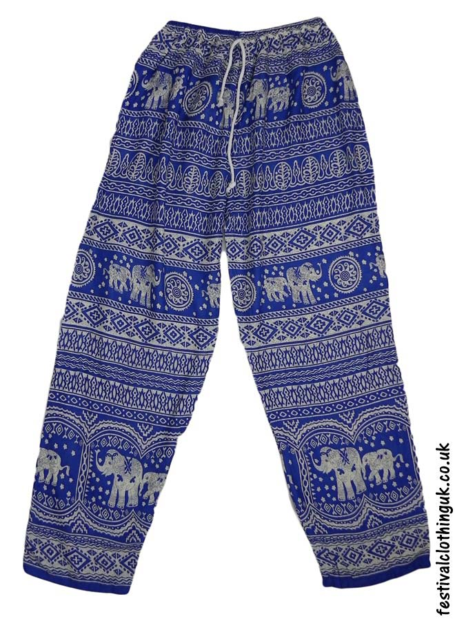 Printed-Rayon-Festival-Trousers-Elephant-Blue