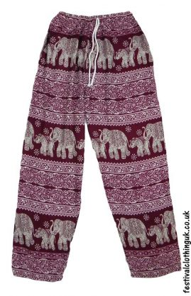Printed-Rayon-Festival-Trousers-Elephant-Burgundy