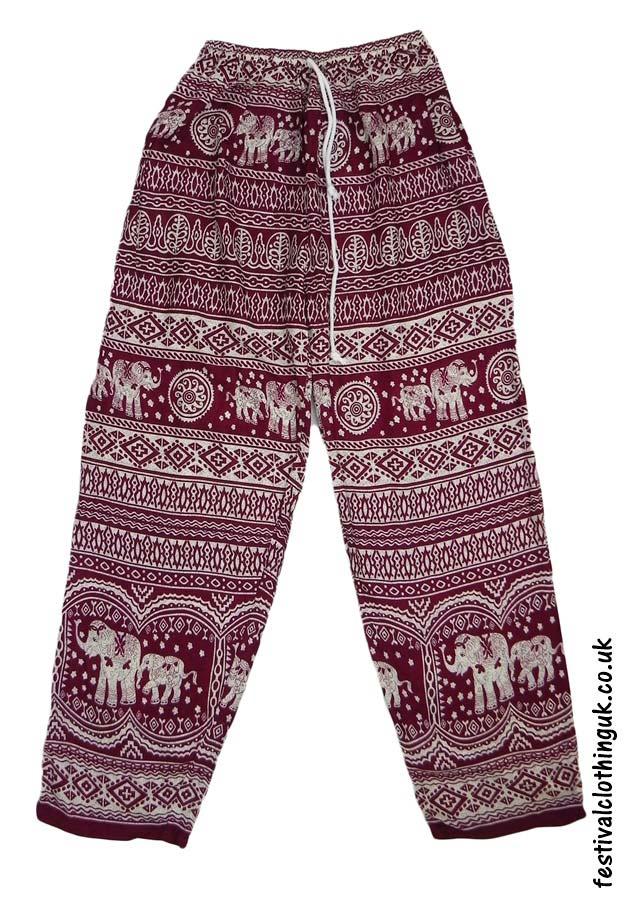 Printed-Rayon-Festival-Trousers-Elephant-Burgundy