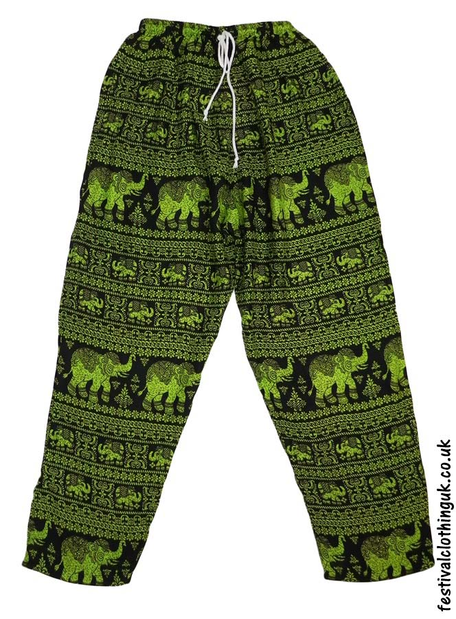 Printed-Rayon-Festival-Trousers-Elephant-Green