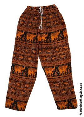 Printed-Rayon-Festival-Trousers-Elephant-Orange