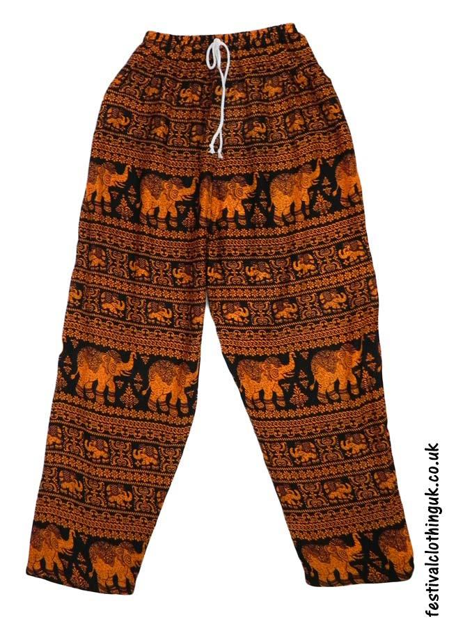 Printed-Rayon-Festival-Trousers-Elephant-Orange