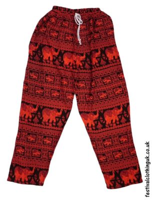 Printed-Rayon-Festival-Trousers-Elephant-Red