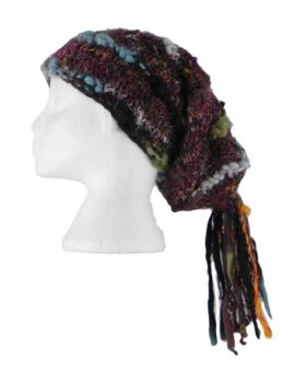 Recycled-Silk-Festival-Hat-with-Wool-Tassels-Black-Multi