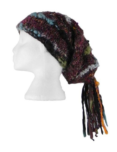 Recycled-Silk-Festival-Hat-with-Wool-Tassels-Black-Multi