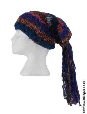 Recycled-Silk-Festival-Hat-with-Wool-Tassels-Blue