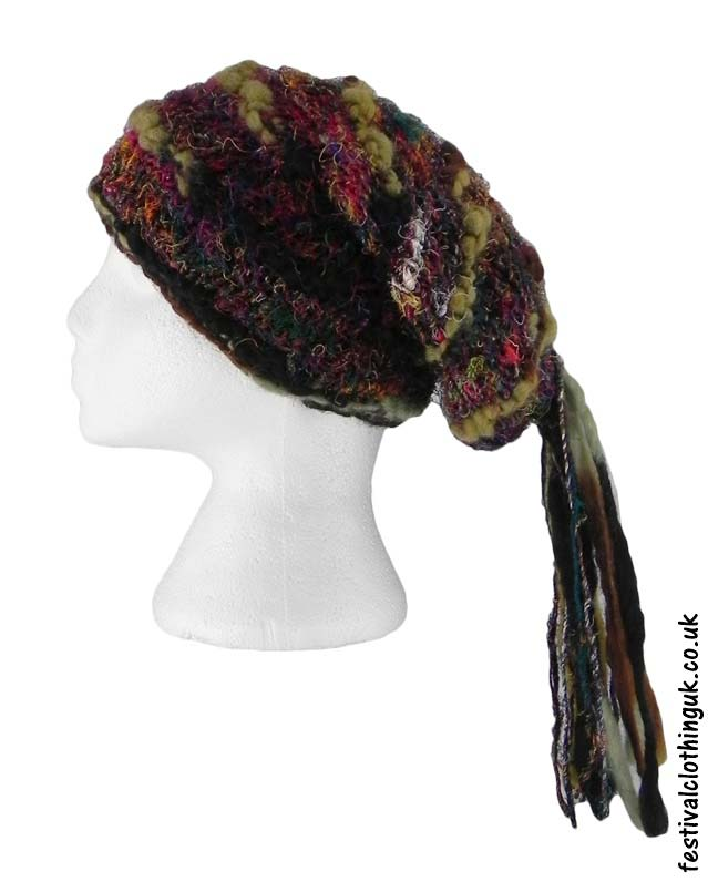 Recycled-Silk-Festival-Hat-with-Wool-Tassels-Brown