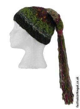 Recycled-Silk-Festival-Hat-with-Wool-Tassels-Green