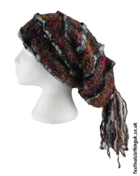 Recycled-Silk-Festival-Hat-with-Wool-Tassels-Grey