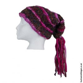 Recycled-Silk-Festival-Hat-with-Wool-Tassels-Pink