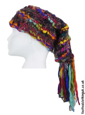 Recycled-Silk-Festival-Hat-with-Wool-Tassels-Rainbow