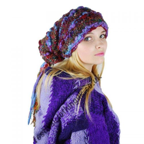 Recycled-Silk-Hat-with-Wool-Tassels-Person