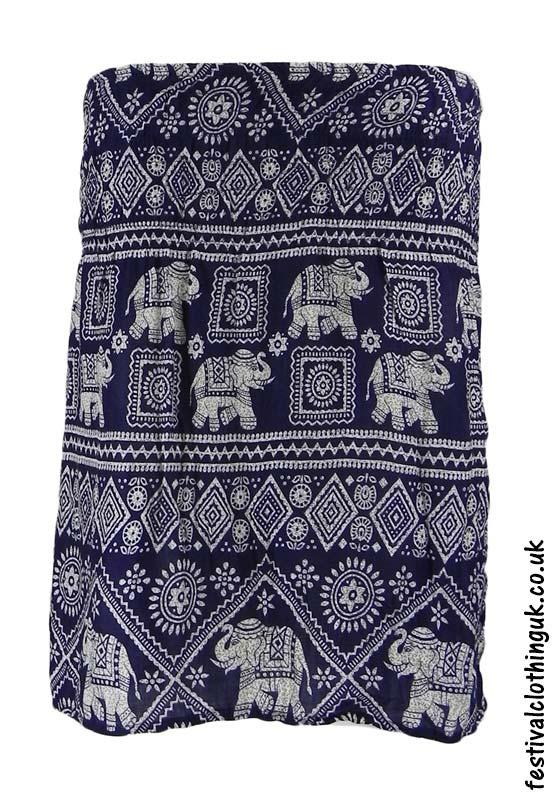 Short-Elephant-Festival-Mini-Skirt-Blue