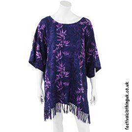Short Rayon Batik Festival Kaftan Purple Bamboo