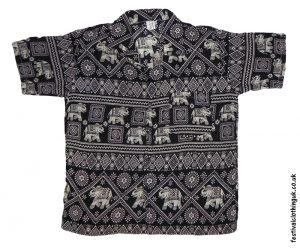 Short Sleeve Festival Shirt Black Elephant