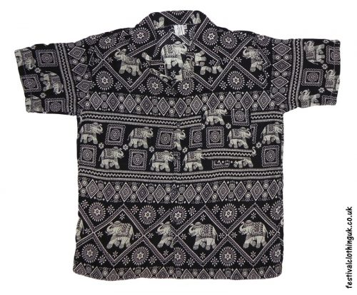 Short Sleeve Festival Shirt Black Elephant