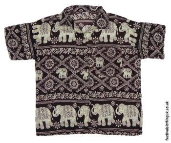 Short-Sleeve-Festival-Shirt-Brown-Elephant