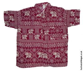 Short-Sleeve-Festival-Shirt-Burgundy-Elephant