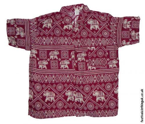 Short-Sleeve-Festival-Shirt-Burgundy-Elephant