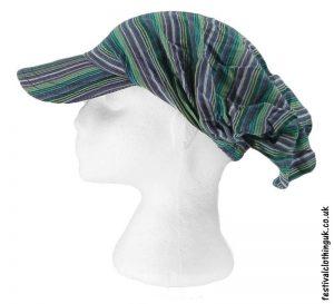 Striped-Headband-Cap-Festival-Hat-Green
