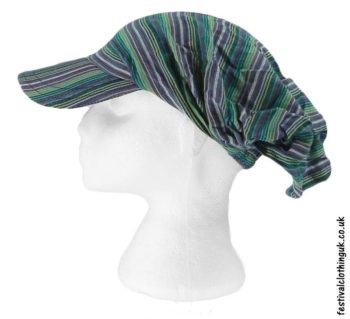 Striped-Headband-Cap-Festival-Hat-Green