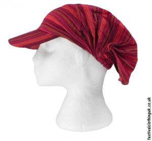 Striped-Headband-Cap-Festival-Hat-Red
