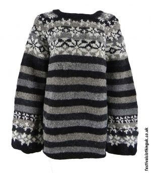 Swedish-Style-Wool-Jumper-Striped-Black-Grey