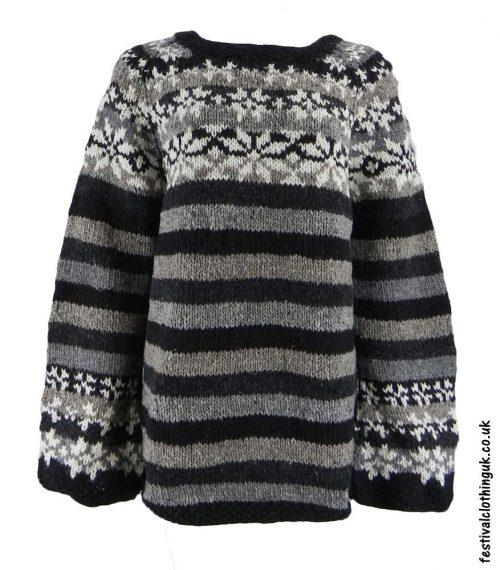 Swedish-Style-Wool-Jumper-Striped-Black-Grey