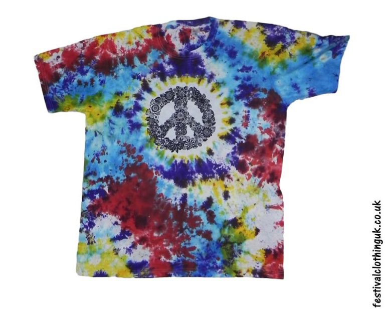 Tie-Dye-Cotton-Festival-T-Shirt-Peace-Sign