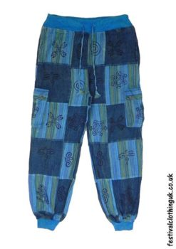 Turquoise-Over-Dyed-Patchwork-Festival-Trousers
